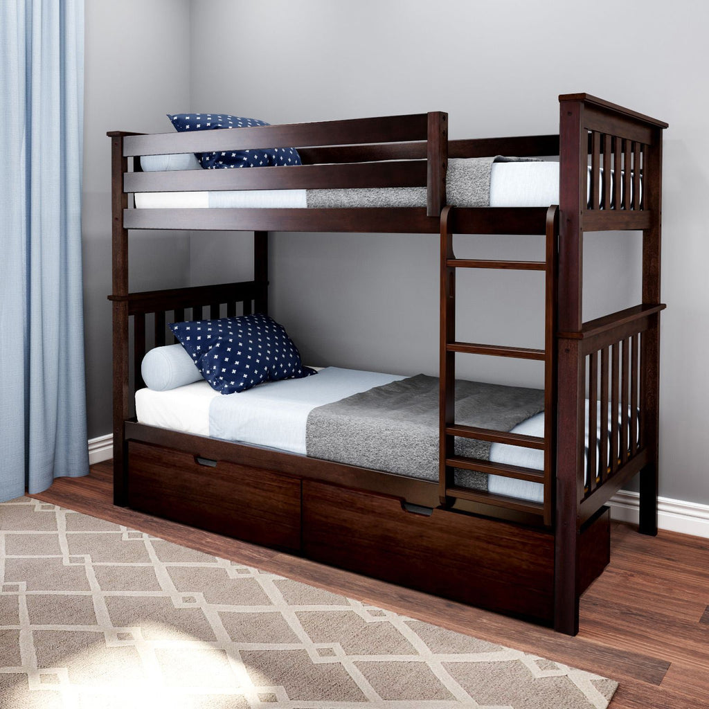 Max & Lily Kid's Twin Over Twin Size Bunk Bed with Storage Drawers Bunk Beds Espresso