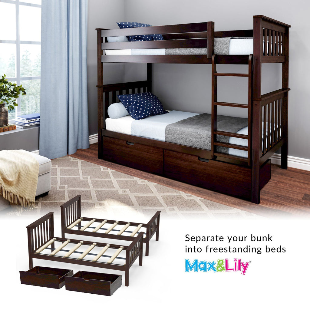Max & Lily Kid's Twin Over Twin Size Bunk Bed with Storage Drawers Bunk Beds