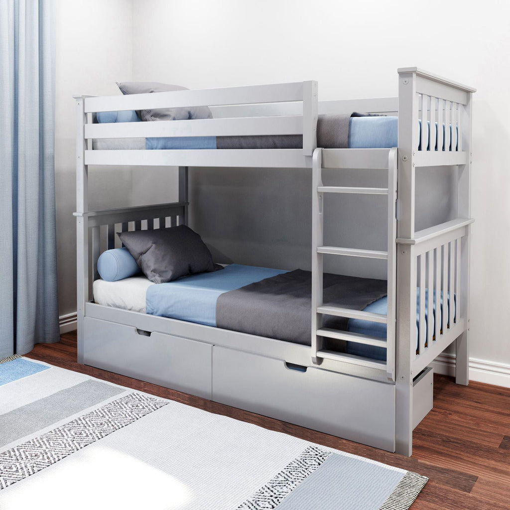 Max & Lily Kid's Twin Over Twin Size Bunk Bed with Storage Drawers Bunk Beds Grey
