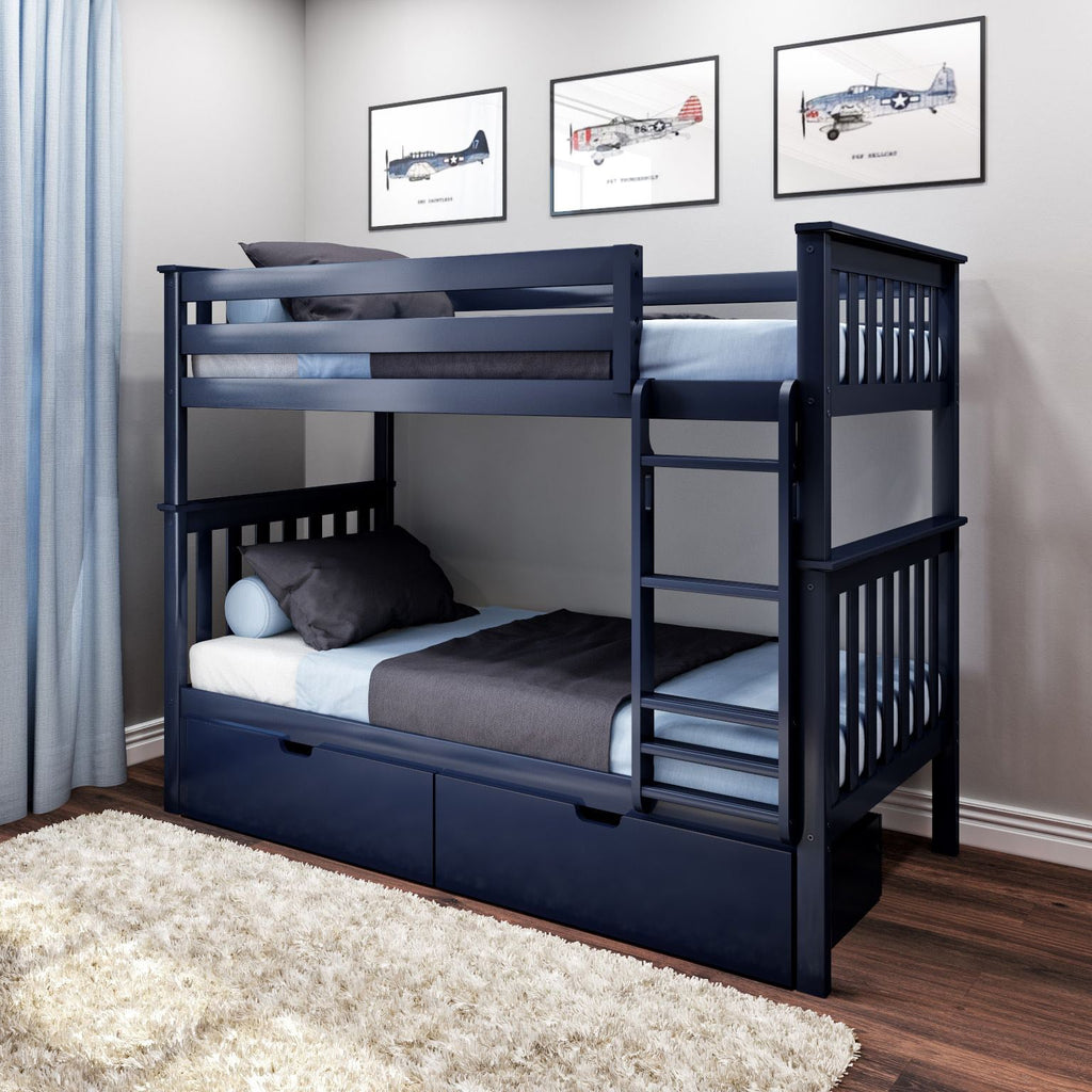 Max & Lily Kid's Twin Over Twin Size Bunk Bed with Storage Drawers Bunk Beds Blue