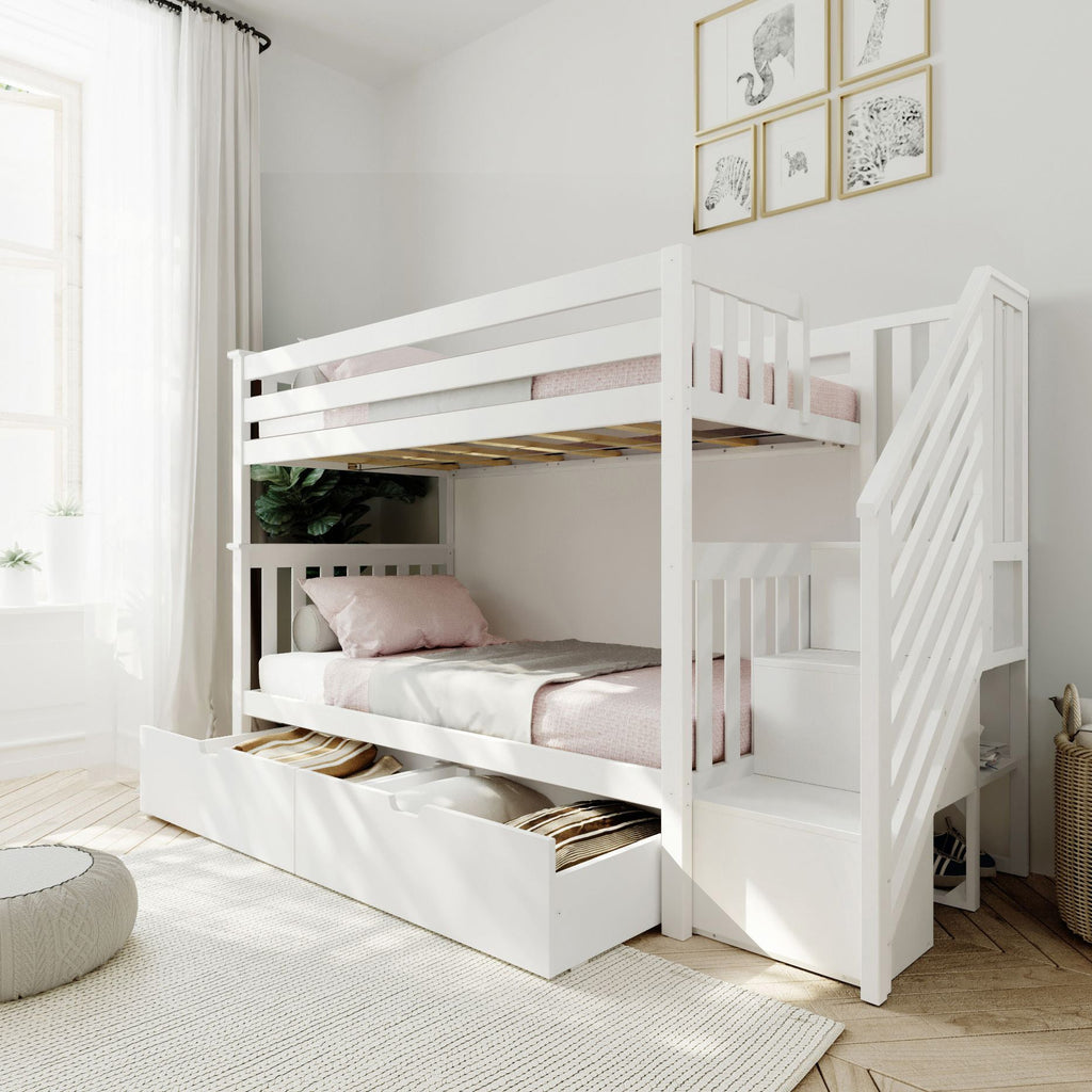 Max & Lily Twin over Twin Staircase Bunk with Storage Drawers Bunk Beds White