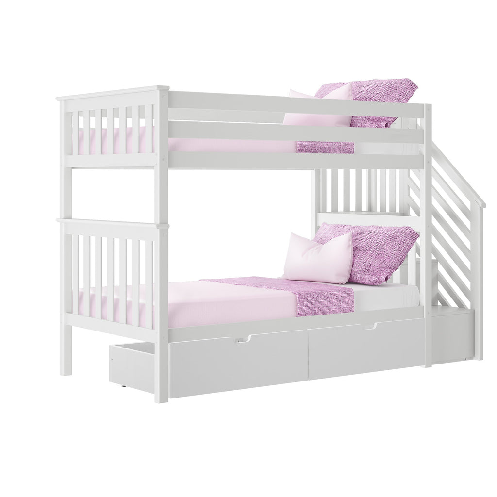 Max & Lily Twin over Twin Staircase Bunk with Storage Drawers Bunk Beds
