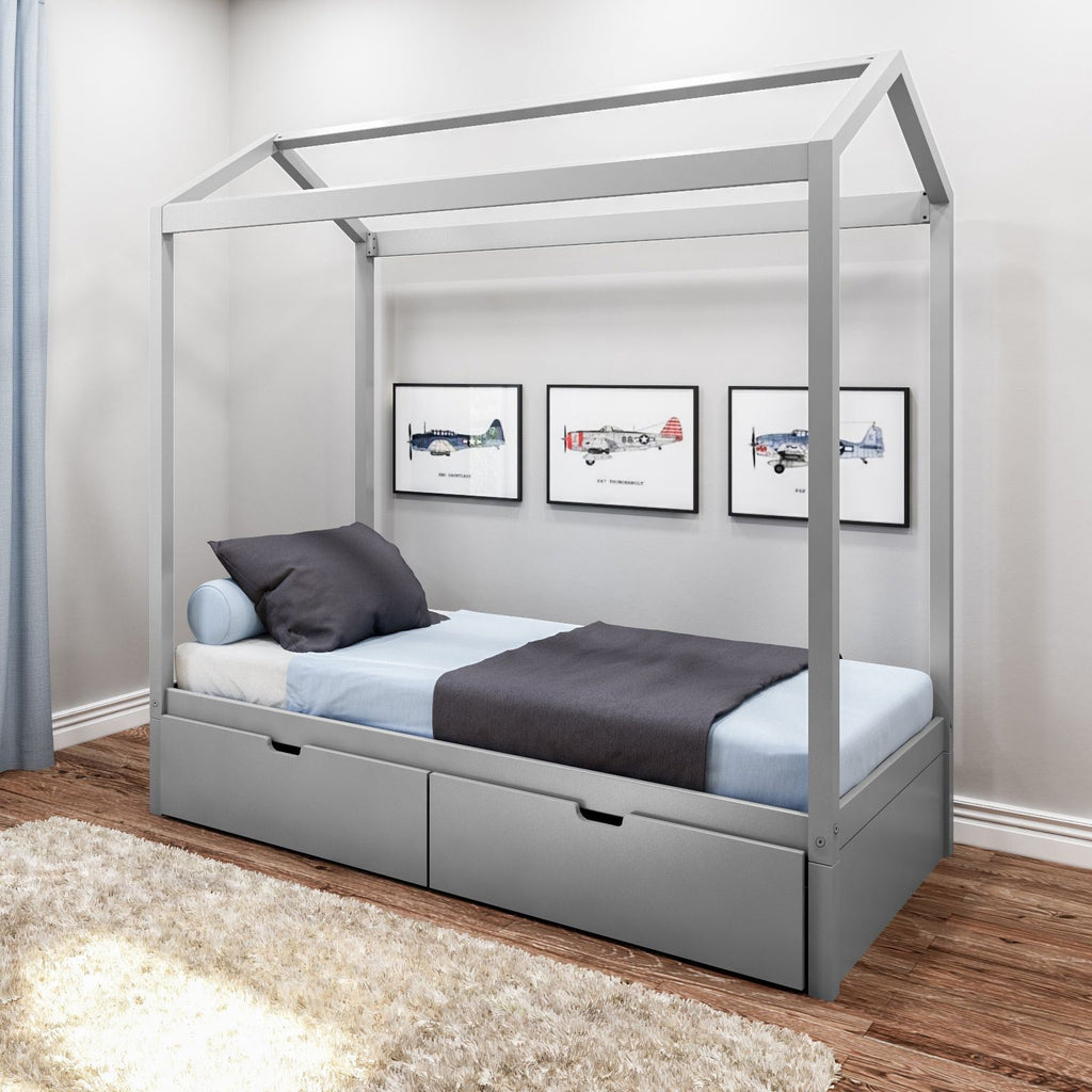 Max & Lily Kid's Twin Size House Bed with Storage Drawers Kids Beds Grey