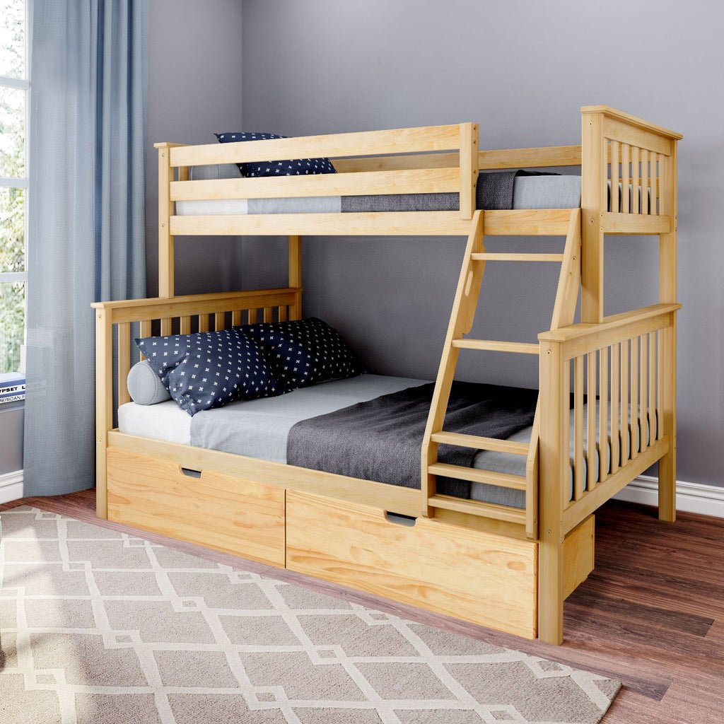 Max & Lily Kid's Twin Over Full Size Bunk Bed with Storage Drawers Bunk Beds Natural