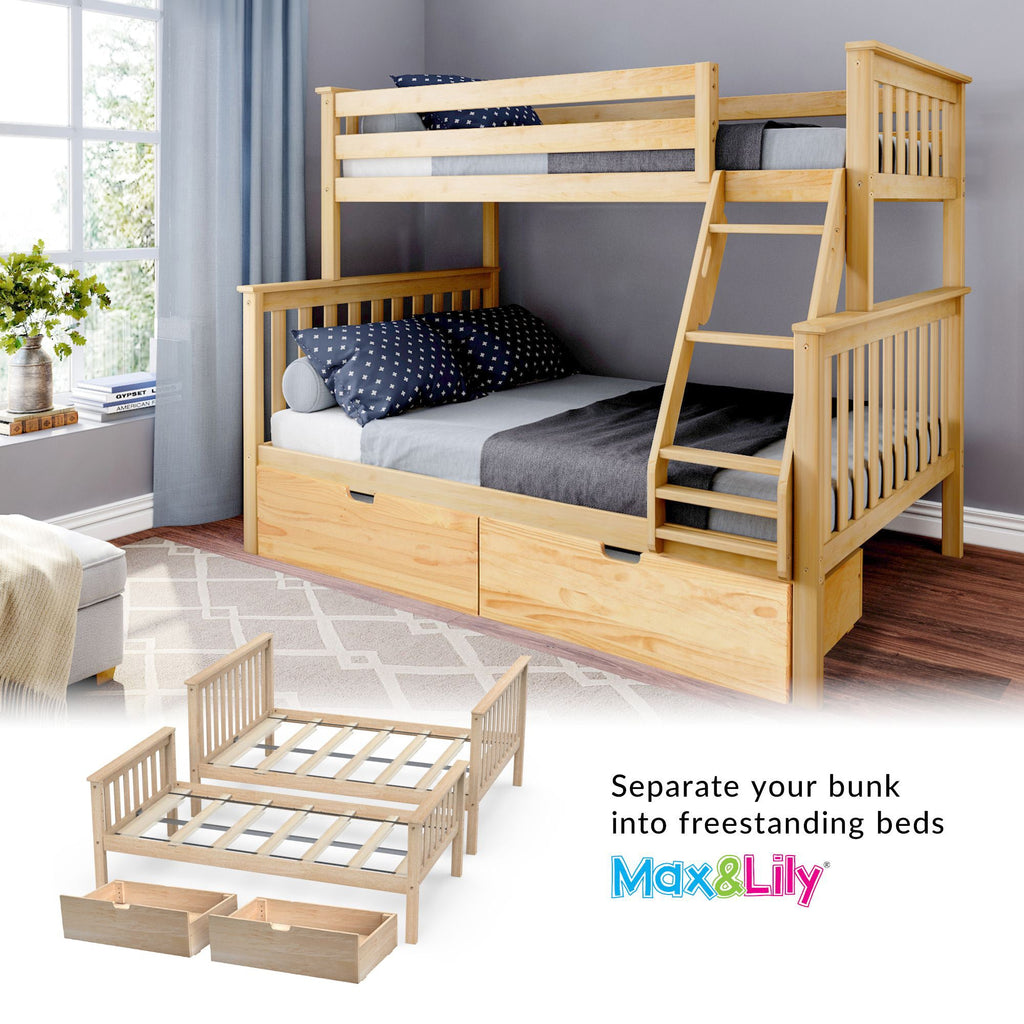 Max & Lily Kid's Twin Over Full Size Bunk Bed with Storage Drawers Bunk Beds