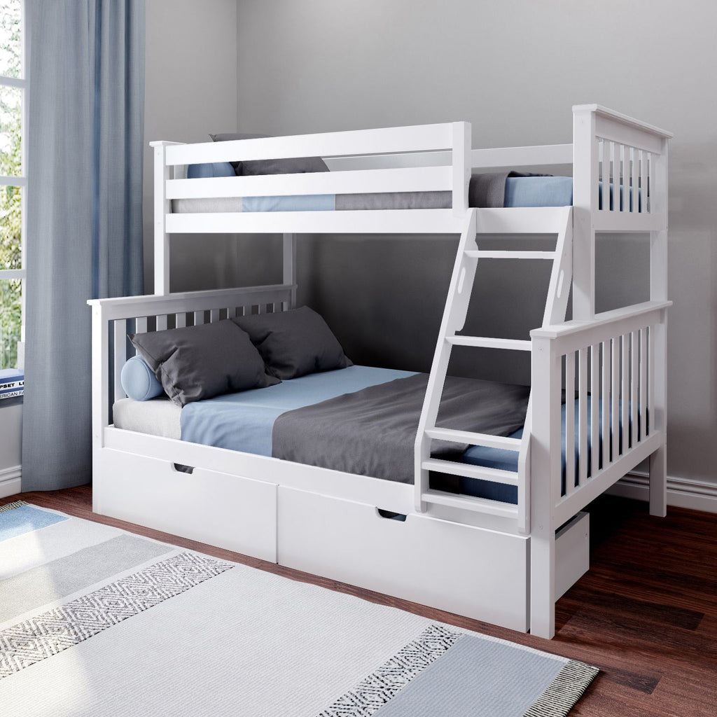 Max & Lily Kid's Twin Over Full Size Bunk Bed with Storage Drawers Bunk Beds White
