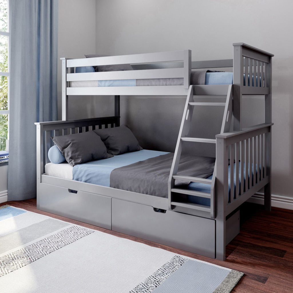 Max & Lily Kid's Twin Over Full Size Bunk Bed with Storage Drawers Bunk Beds Grey