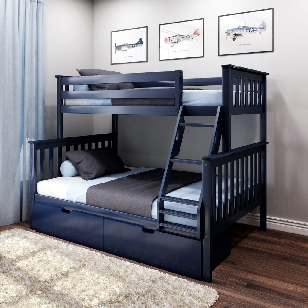 Max & Lily Kid's Twin Over Full Size Bunk Bed with Storage Drawers Bunk Beds Blue