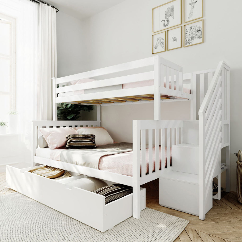 Max & Lily Twin over Full Staircase Bunk with Storage Drawers Bunk Beds White