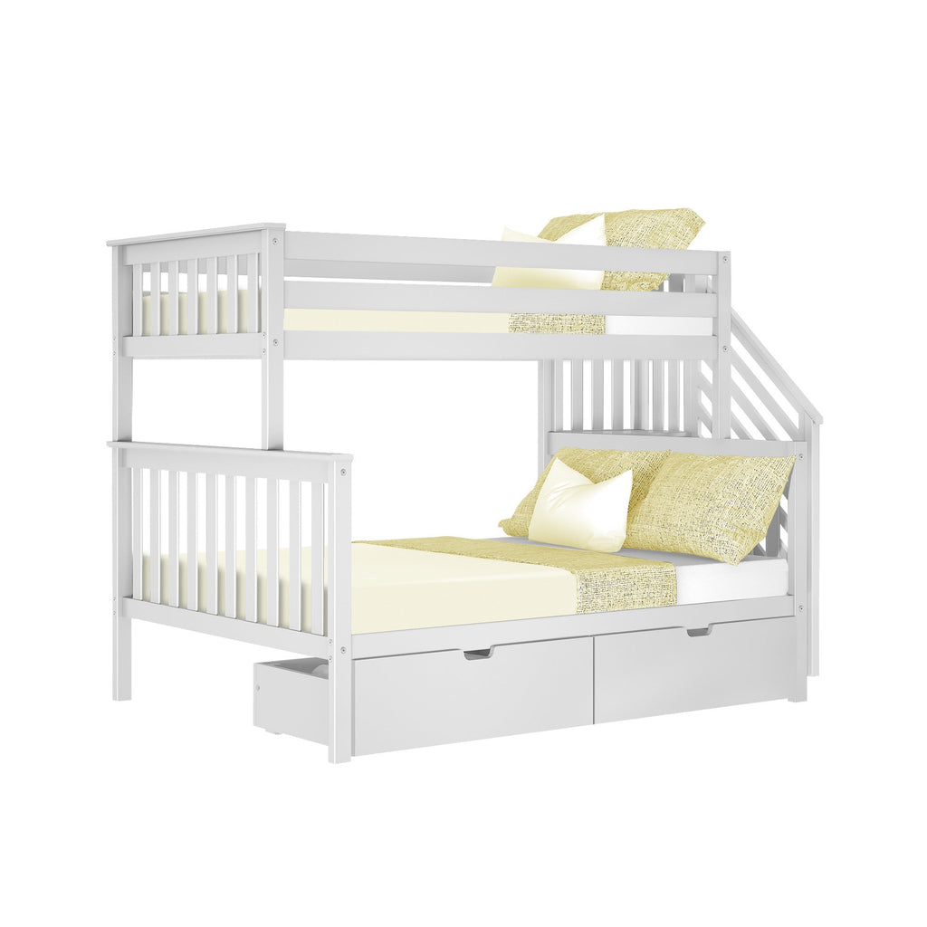 Max & Lily Twin over Full Staircase Bunk with Storage Drawers Bunk Beds