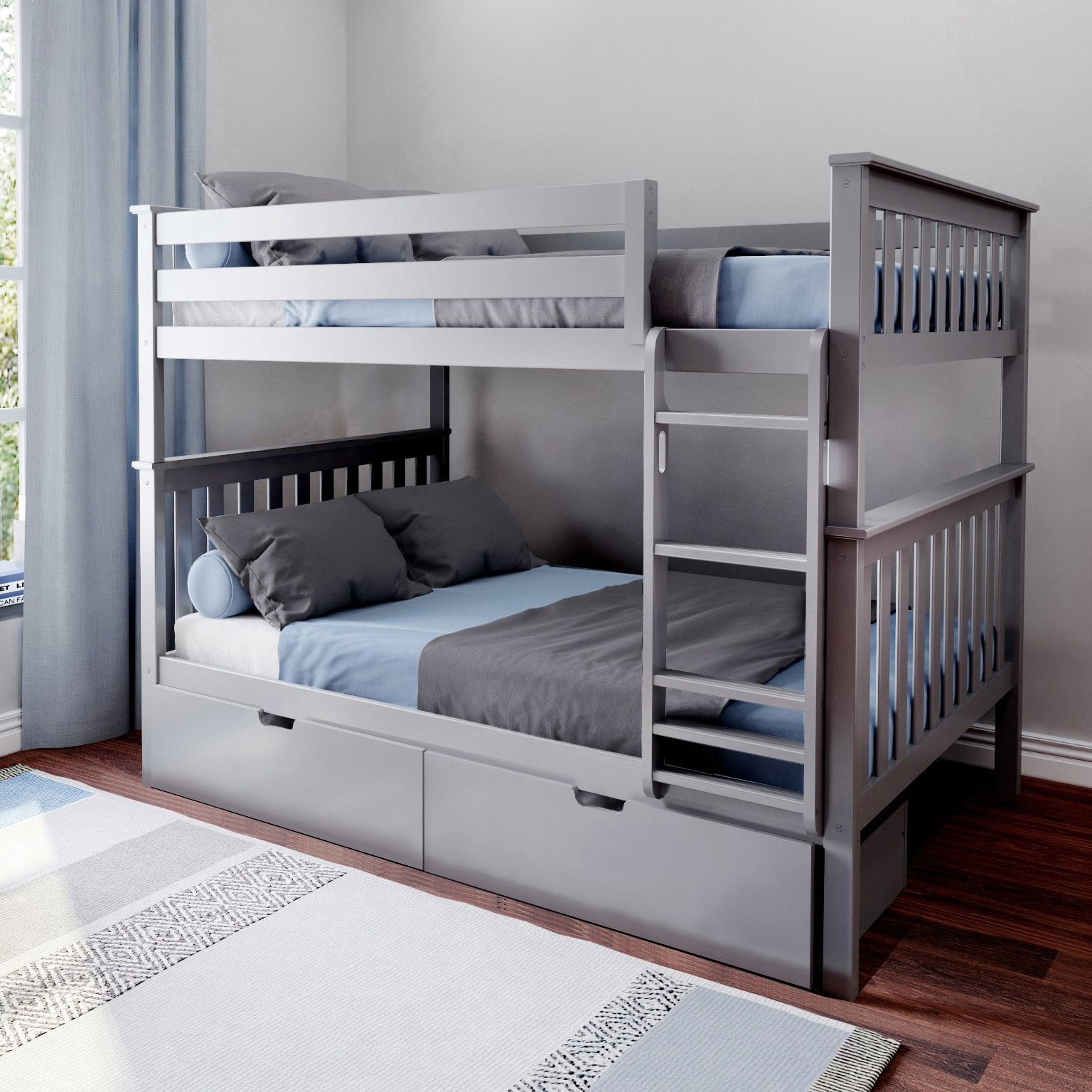 Max Lily Solid Wood Twin Over Full Bunk Bed Storage Drawers Blue Bed Frames Headboards Footboards Kids Furniture Guardebem Com