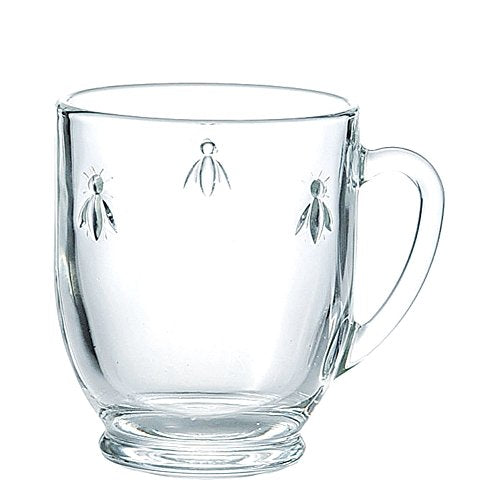 La Rochère Set of 6, 12 oz. Bee Décor Clear Coffee Mugs