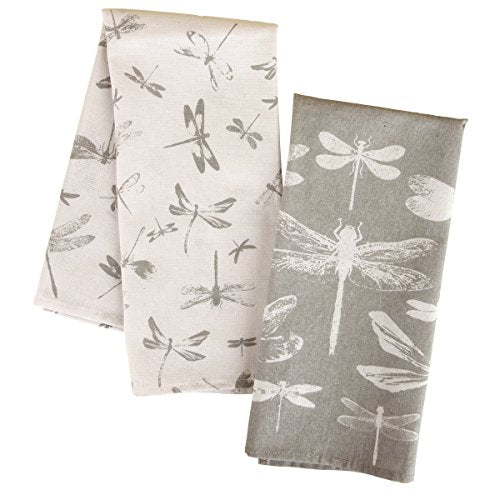 Karma Tea Dragonfly Towels (Set of 2), Slate Gray