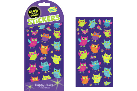 Happy Owl Glow in the Dark Stickers