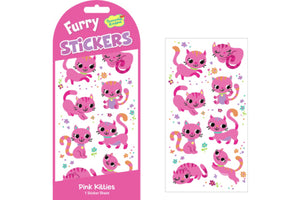 Pink Kitties Furry Stickers