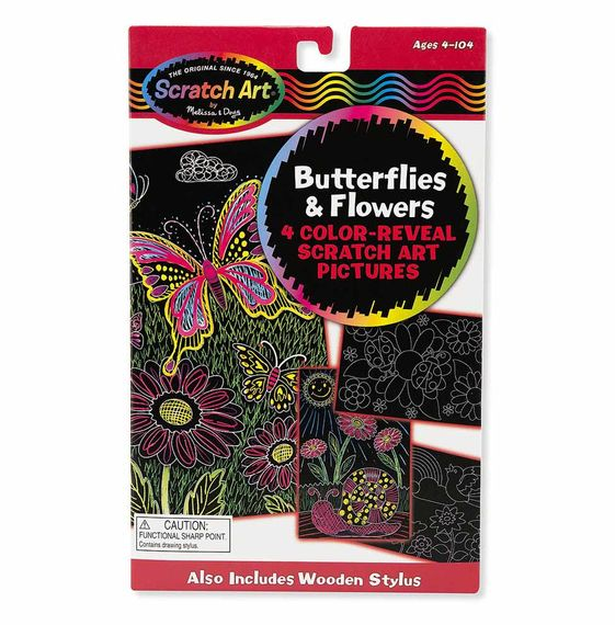 Scratch Art Color Reveal Butterflies & Flowers