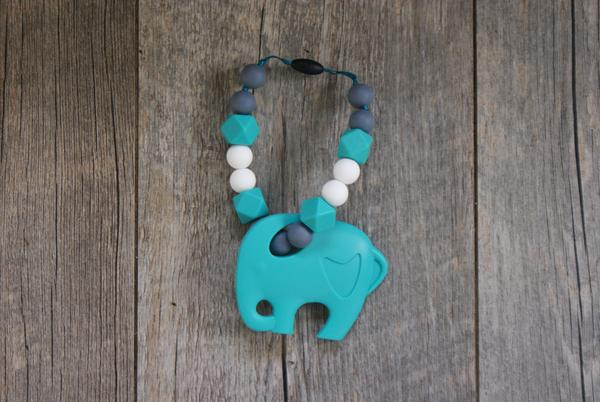 Carrier Teether Turquoise Elephant