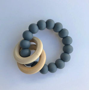 Wood Ring Teether Grey