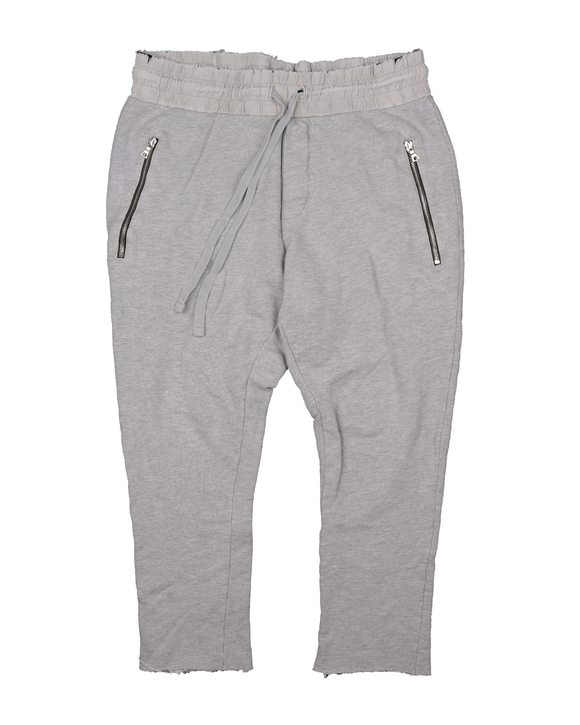 Cropped Raw Hem Distressed Sweatpant