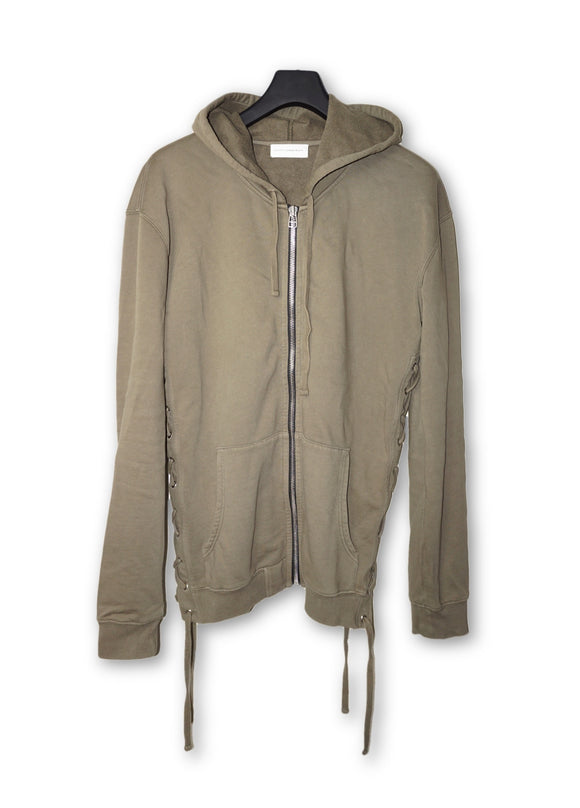 Army Green Zip Up Hoodie