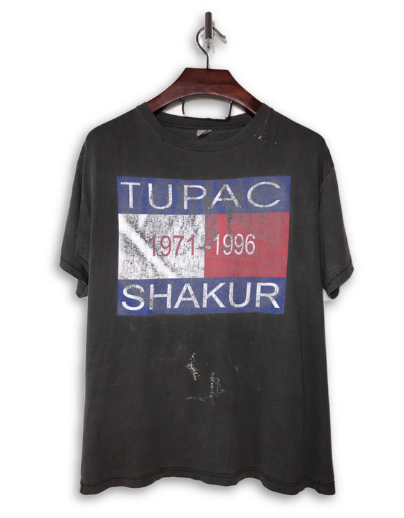 2pac Vintage Hilfiger Washed Black Hip-Hop T-Shirt