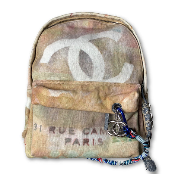 Chanel Graffiti Printed Canvas Backpack Large New in Box