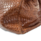 Hermes Birkin HAC 50cm Matte Fauve Brown Crocodile Palladium Hardware Bag