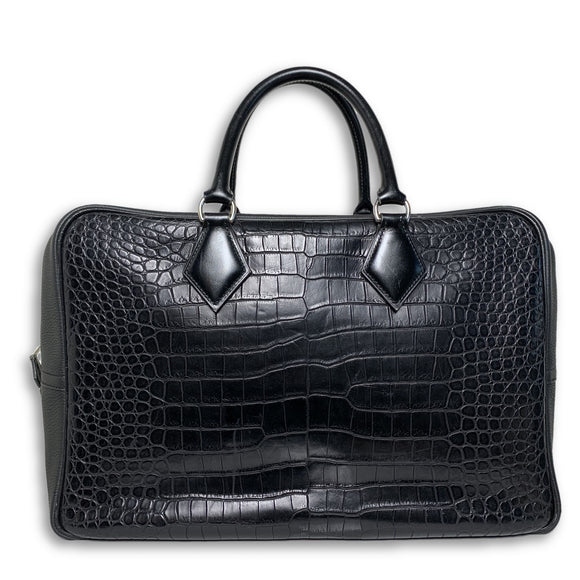 Hermes Black Plume Croc Leather Bag 40CM