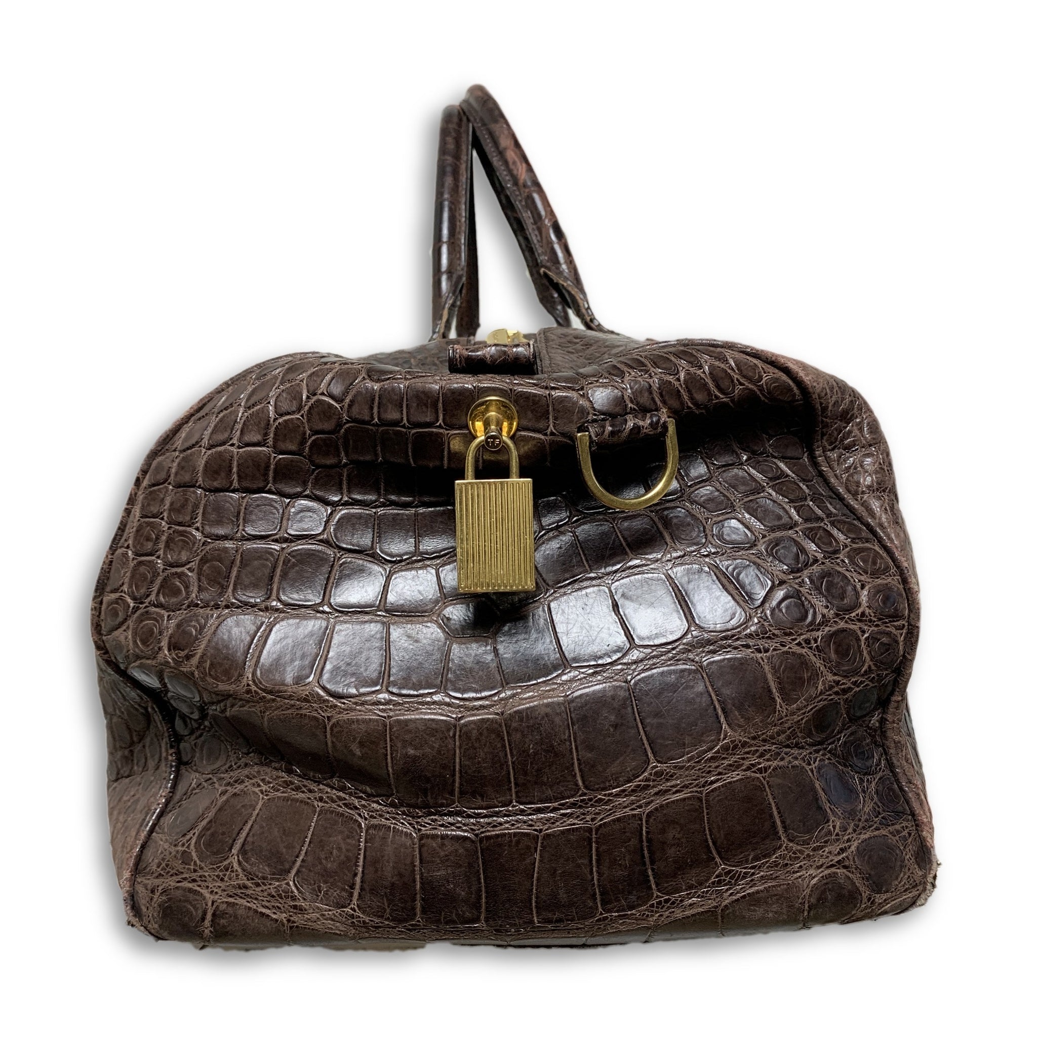 d9aa00151ba0 Tom Ford Buckley Alligator Brown Duffle Bag – Justin Reed New York