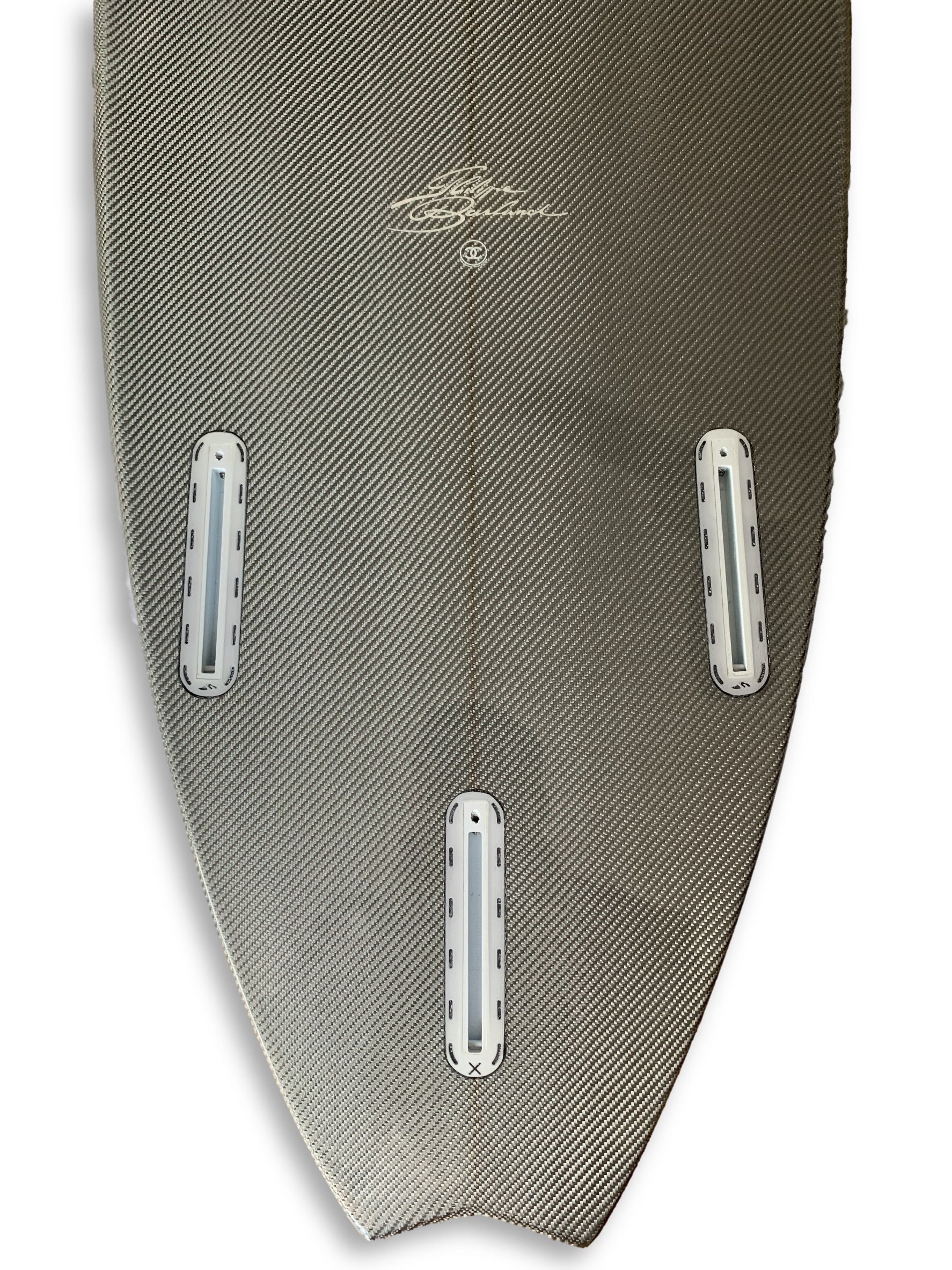 c8536e05d654 ... Chanel x Philippe Barland Limited Edition Silver/Chrome Carbon Surfboard  ...