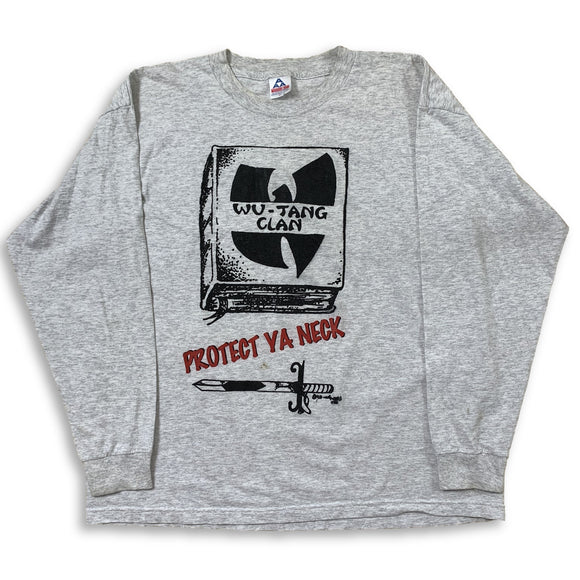 Vintage Bootleg WU-TANG 'Protect Ya Neck' Long Sleeve T-Shirt - Grey - Size XL