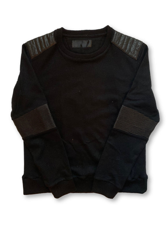 Leather Accented Sweater
