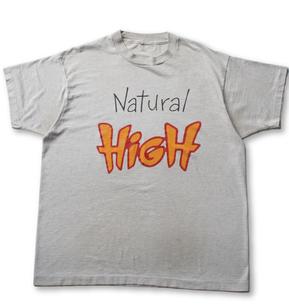 Vintage 80's 'NATURAL HIGH' Graphic T-Shirt - Gray - XL