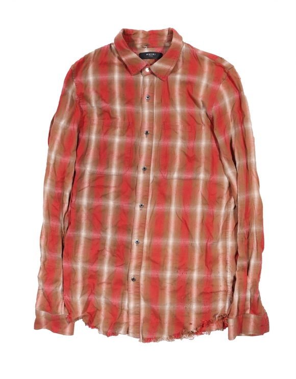 Distressed Raw Hem Flannel