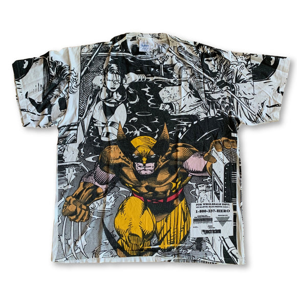 Vintage 1991 X-MEN All Over Jim Lee Marvel T-Shirt - XL