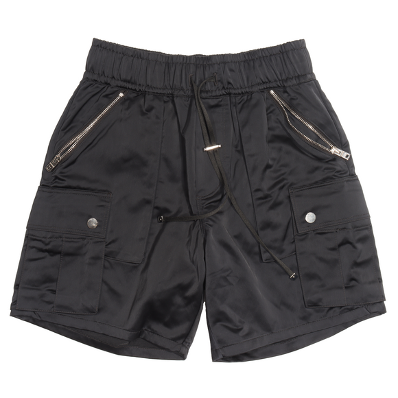 Black Satin Cargo Shorts