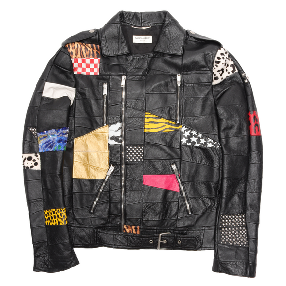 SS16 Patchwork Python Sequin Leather Jacket
