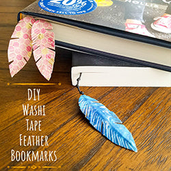Tutorial for DIY Washi Tape Feather Bookmarks