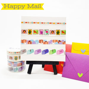 happy mail images on washi tape, stamps, packages, mailbox