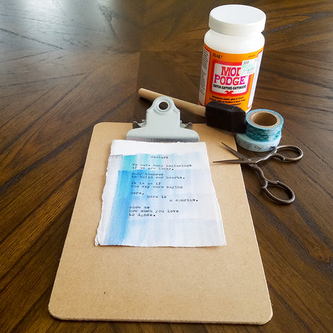Supplies for DIY Washi Tape Clipboard Frame Craft