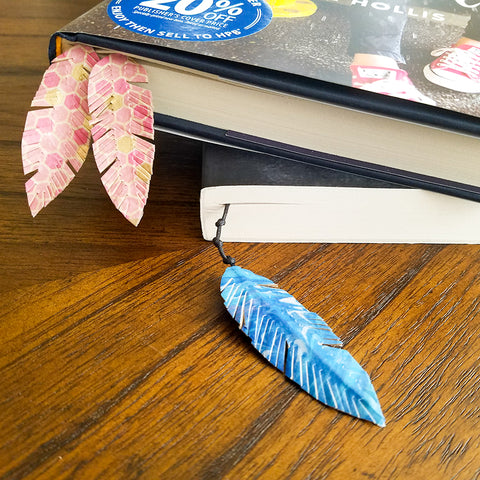 Finished DIY Washi Tape Feather Bookmarks
