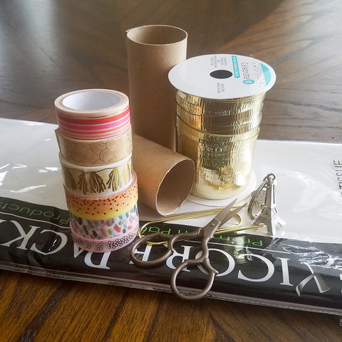 Supplies for Washi Tape Decorated Gift Tubes
