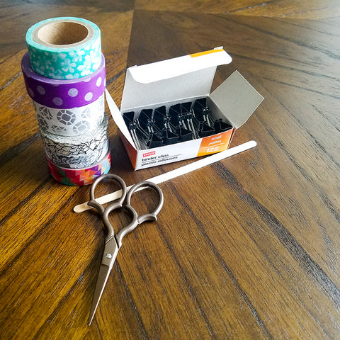 Supplies for Washi Tape Covered Binder Clips