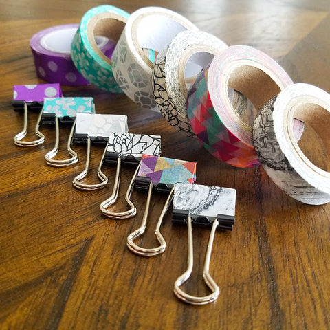 Washi Tape Covered Binder Clips