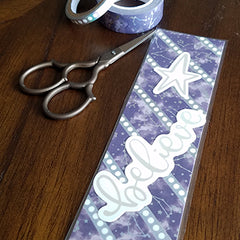 Finished one-sided washi tape bookmark with ephemera