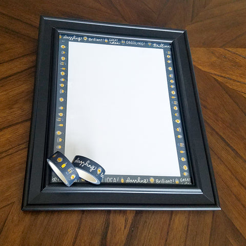 Completed DIY Washi Tape Dry Erase Note Board