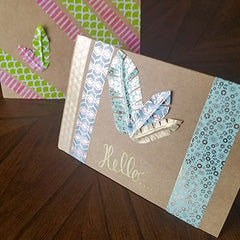 Finished Washi Tape Feathers on Cards