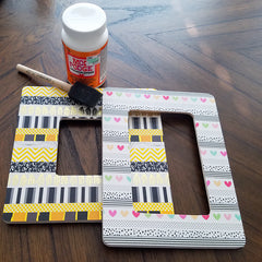Both DIY Washi Picture Frames prior to Modge Podge