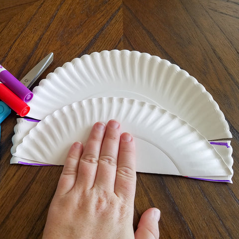 Folding the Larger Sides of the Washi Tape and Paper Plate Treat Basket