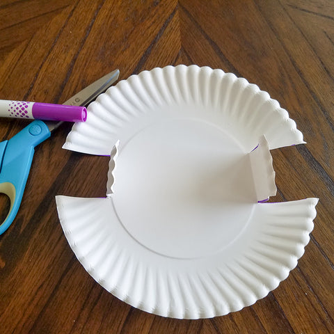 Folding Small Sides for the Washi Tape and Paper Plate Treat Basket